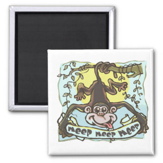 Meeping Monkey by Mudge Studios Square Magnet