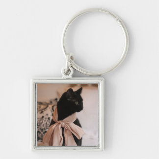 Meeps, the Chic Chat Noir II Silver-Colored Square Key Ring