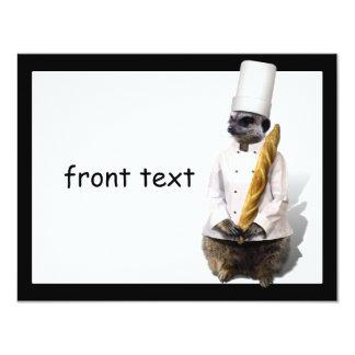 Meercat Chef  With Baguette 11 Cm X 14 Cm Invitation Card