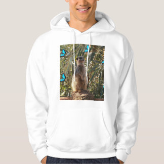 Meerkat And Blue Butterflies, Hoodie