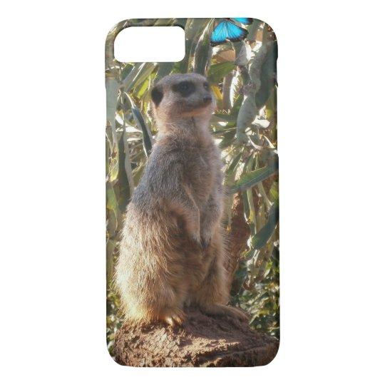Meerkat And Blue Butterflies, iPhone 8/7 Case