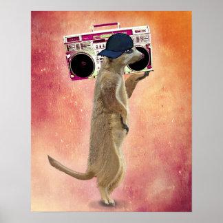 Meerkat and Boom Box Poster