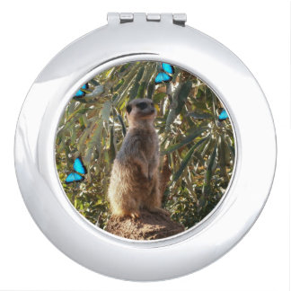 Meerkat And Butterflies, Compact Mirror