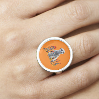 Meerkat And Logo, Silver Round Ring.