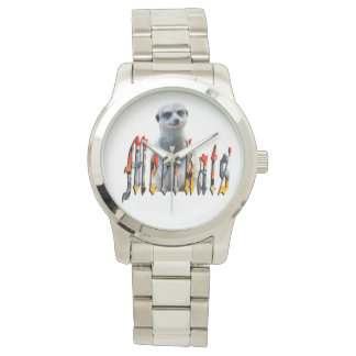 Meerkat And Meerkat Logo Large Silver Unisex Watch