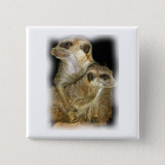 Meerkat and Pup in Oil, jagged edge 15 Cm Square Badge