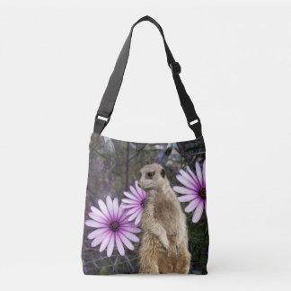 Meerkat And Purple Daisies, Crossbody Bag