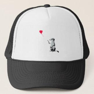 Meerkat and the red balloon trucker hat