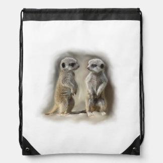 Meerkat babies drawstring bag