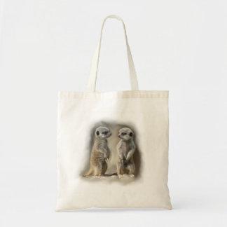 Meerkat baby twins budget tote bag