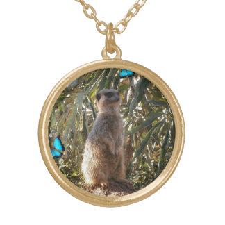 Meerkat,_Blue_Butterflies,_Golden_Pendant_Necklace Gold Plated Necklace