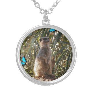 Meerkat,_Blue_Butterflies,_Round_Pendant_Necklace Silver Plated Necklace