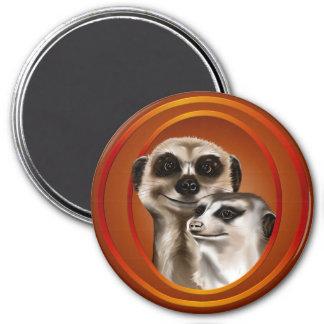 Meerkat Couple-Magnets 7.5 Cm Round Magnet
