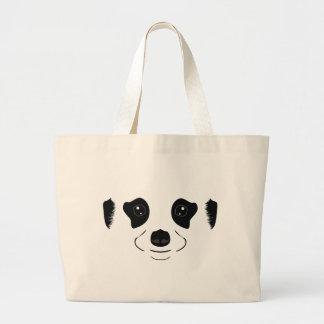 Meerkat face silhouette large tote bag