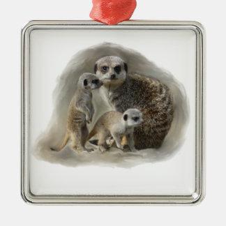 Meerkat family christmas ornament