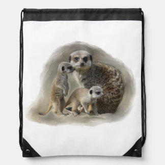 Meerkat family drawstring bag