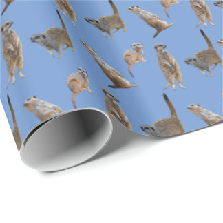 Meerkat Frenzy Wrapping Paper (Light Blue)