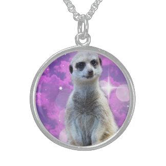 Meerkat_Glitter_Sterling_Silver-Necklace Round Pendant Necklace