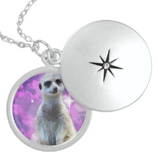 Meerkat_Glitter_Sterling_Silver-Pendant_Necklace Locket Necklace