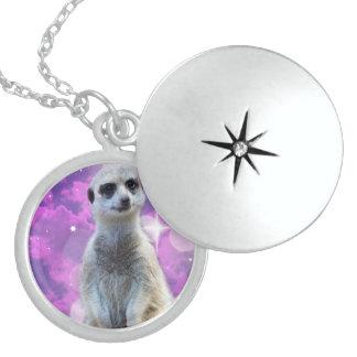 Meerkat_Glitter_Sterling_Silver-Pendant_Necklace Round Locket Necklace