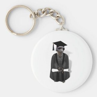 Meerkat Graduate Basic Round Button Key Ring
