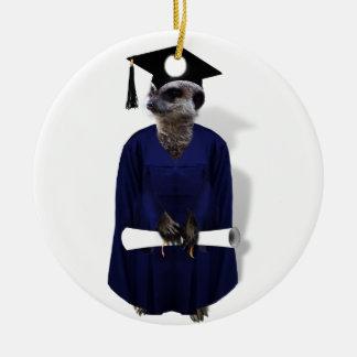 Meerkat Graduate W/ Blue Gown & Diploma Round Ceramic Decoration