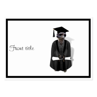 Meerkat Graduate W/Grey Gown & Black Sash Pack Of Chubby Business Cards