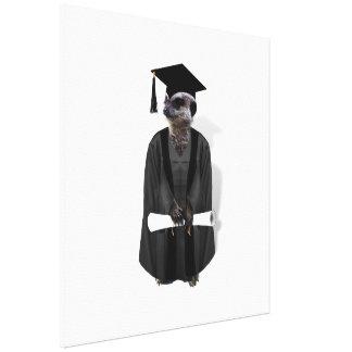 Meerkat Graduate W/Grey Gown & Black Sash Canvas Print