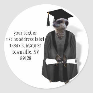 Meerkat Graduate W/Grey Gown & Black Sash Classic Round Sticker