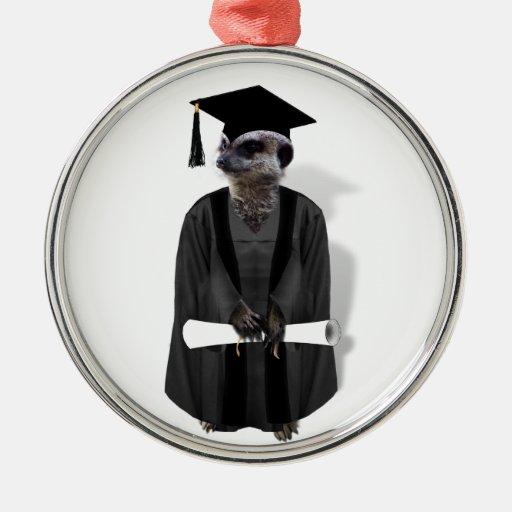 Meerkat Graduate W/Grey Gown & Black Sash Christmas Tree Ornaments