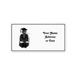 Meerkat Graduate W/Grey Gown & Black Sash Address Label