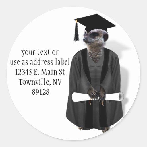 Meerkat Graduate W/Grey Gown & Black Sash Round Sticker