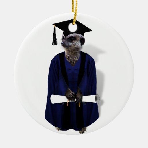 Meerkat Graduate (with Blue Gown w/Black Sash) Christmas Ornament