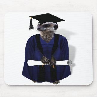 Meerkat Graduate with Blue Gown w Black Sash Mousepad