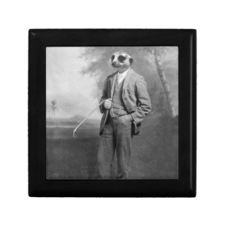 Meerkat in a Business Suit with Golf Club Box Small Square Gift Box