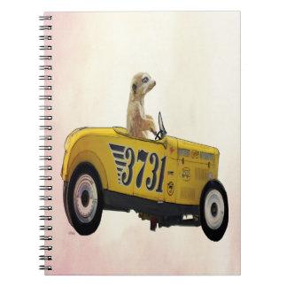 Meerkat in Hot Rod 3 Spiral Notebook