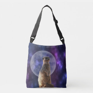 Meerkat_In_Moonlight,_Full_Print_Cross_Body_Bag Crossbody Bag