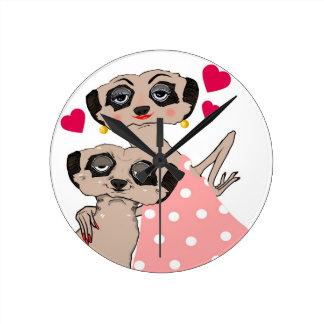 Meerkat 'Love' clock! Round Clock
