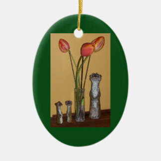 Meerkat Mom & Kids and Tulips Ceramic Oval Decoration