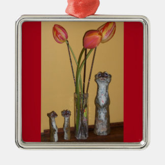 Meerkat Mom & Kids and Tulips Silver-Colored Square Decoration