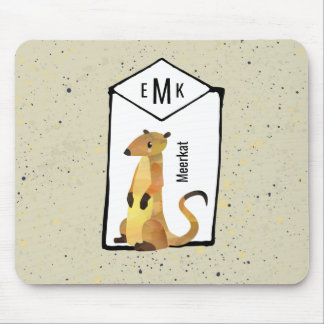 Meerkat on Beige Background with Monogram Mouse Mat