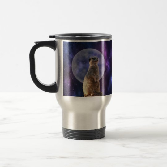 Meerkat On Blue Moonlight Night Watch, Travel Mug