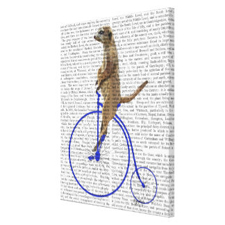 Meerkat On Blue Penny Farthing Canvas Print