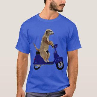 Meerkat on Dark Blue Moped T-Shirt