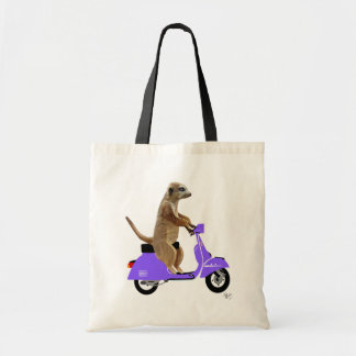 Meerkat on Lilac Moped Budget Tote Bag