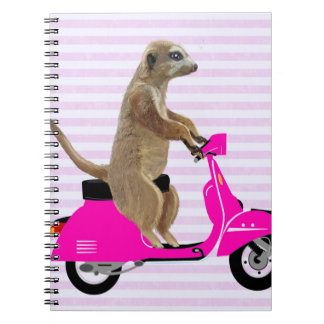 Meerkat on Pink Moped 2 Notebook