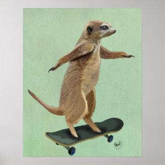 Meerkat On Skateboard Poster