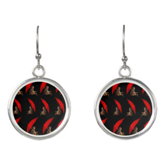 Meerkat_Pattern_Ladies_Round_Silver_Drop_Earrings. Earrings