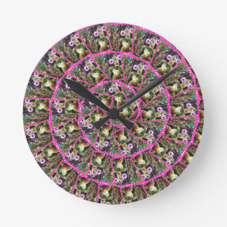 Meerkat Spiral Abstract Pattern, Round Clock