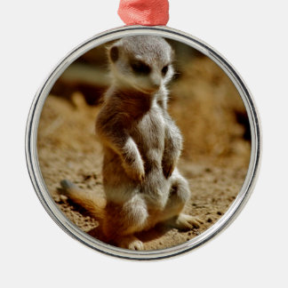Meerkat Style Silver-Colored Round Decoration